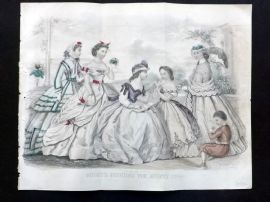 Godey 1865 Hand Col Fashion Print. August